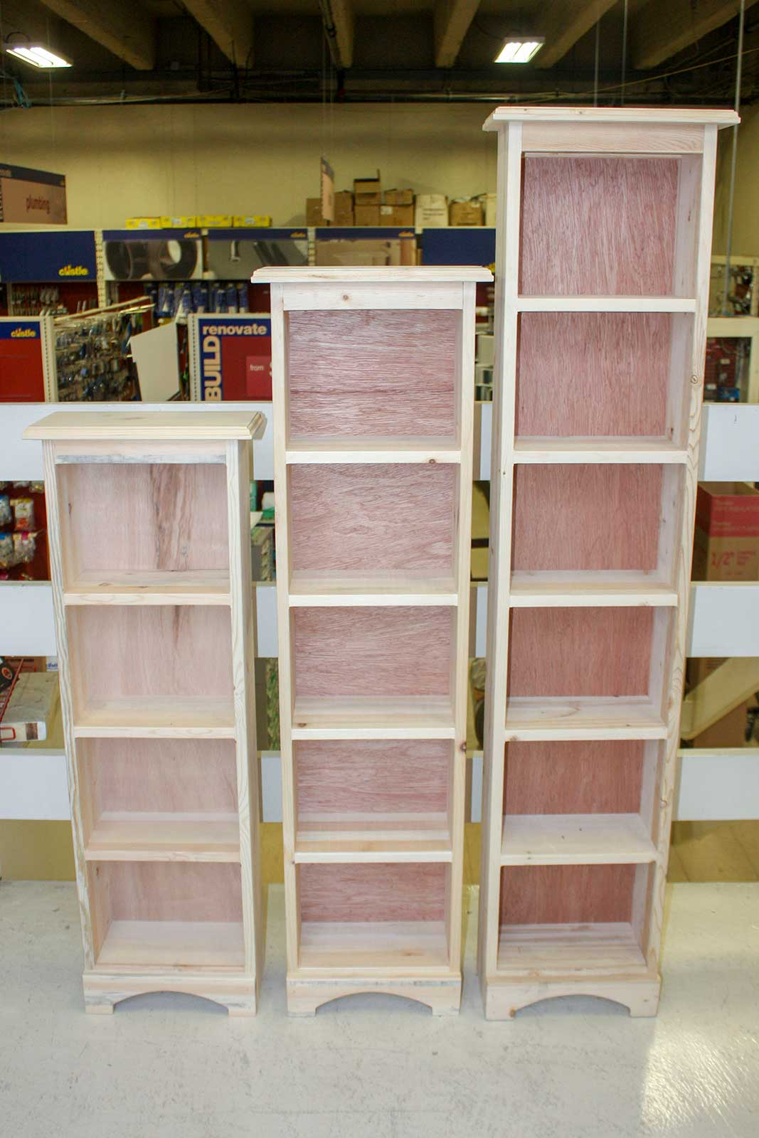 "Pine DVD Cabinets in 6x12x40, 50"" and 60"""