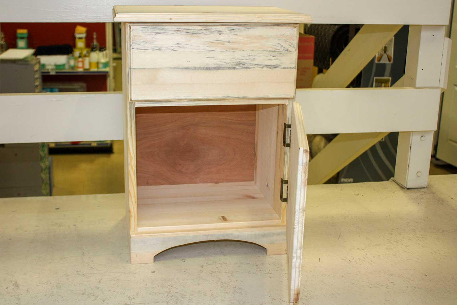 Pine Nightstand with Drawer and Door